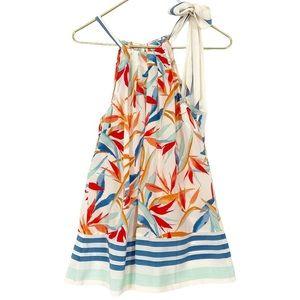 TOMMY BAHAMA Silk Tropical Floral Tie Halter Tank